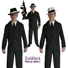 MENS GANGSTER COSTUME ADULT PINSTRIPE SUIT 1920 MAFIA MOBSTER GUN