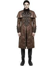 PUNK RAVE UOMO STEAMPUNK CAPPOTTO GIACCA ECOPELLE MARRONE Gothic Regency