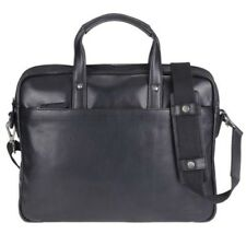 Greenburry Business Borsa Oily Tumbled donna uomo Nero Pelle Borsa a tracolla