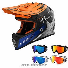 LS2 MX 437 RÁPIDO Core Naranja Casco Motocross CROSS HP7 Gafas reflectantes