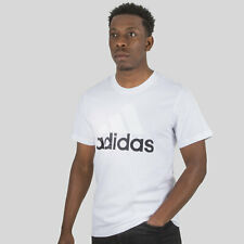 adidas Mens Essential Linear T-Shirt White Sports Training Top Activewear