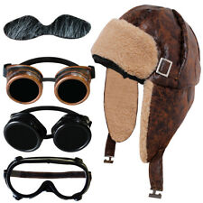 WW2 BIGGLES WARTIME FIGHTER PILOT SHEEPSKIN AVIATOR HAT AND CHOICE OF GOGGLES
