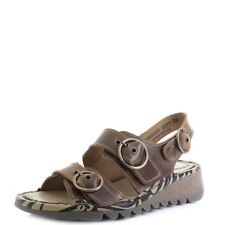 Womens Fly London Tear Bridle Camel Leather Flat Low Wedge Sandals UK Size