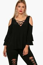 Boohoo Plus Beth Flare Sleeve Lace Up Top para Mujer
