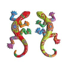 Wall-mountable Lizard Gecko Ornament Bright Exotic Polyresin Garden Feature
