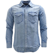 Replay Popper ligero azul Denim Western frente camisa camiseta - M4981.26C.295.0