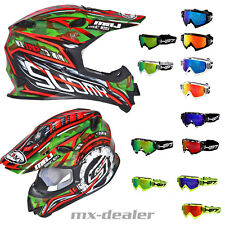 SUOMY SIGNOR JUMP ASSAULT NERO + HP7 OCCHIALI DA CROSS MX CASCO MOTOCROSS BMX