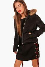 Boohoo Petite Cara Padded Faux Fur Hooded Coat para Mujer