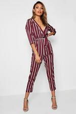 Boohoo Jess Striped Wrap Tie Belt Jumpsuit per Donna
