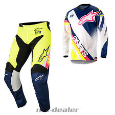 18 Alpinestars Racer Supermatic Blanco Azul Mx Motocross COMBO Cross