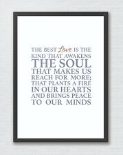 The Best Love The Notebook Positive Typography Art Print Decor Word Art Quote