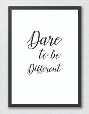 Dare to be Different Inspirational Typography Art Print Decor Word Art Quote
