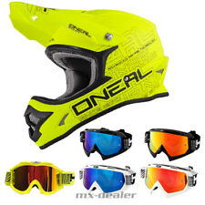 ONEAL 3Series FLAT GIALLO NEON OPACO CASCO CROSS MX motocross occhiali da enduro