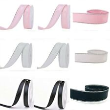 NEW 4 Sizes Double Sided Silver-Edged Grosgrain w Satin Ribbon Eco Quality