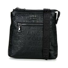 BORSELLO UOMO GUESS NEW BOSTON EMBOSSED CROSSBODY TRACOLLA LOGATO ZIP BLACK