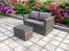 Clone of NEW TWIN RATTAN WICKER CONSERVATORY OUTDOOR GARDEN FURNITURE SET Grey