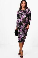 Boohoo Maternity Fiona Floral Print Long Sleeve Midi Dress para Mujer