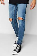 Boohoo Blue Wash Skinny Fit Distressed Jeans para Hombre
