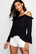 Boohoo Willow Cold Shoulder Ruffle Tie Blouse para Mujer