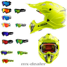 LS2 Mx 470 Subverter Giallo Fluo + HP7 Occhiali da Cross Casco Motocross
