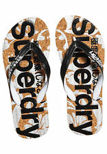 Superdry Chanclas de dedo Mujer Impreso Corcho Black Optic Blanco