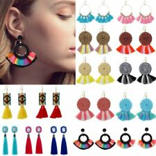 Boho Tassel Rhinestone Round Dangle Drop Hook Ear Stud Earrings Womens Jewellery