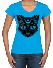 Black Witches Cat with Moon Symbol Large Print V Neck Women's T-Shirt