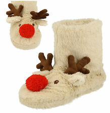 New Ladies Cream Faux Fur Reindeer Novelty Boot Slippers Size 3-4 5-6 7-8 SALE