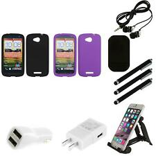 For HTC One VX Silicone Skin Rubber Soft Case Phone Cover Combo