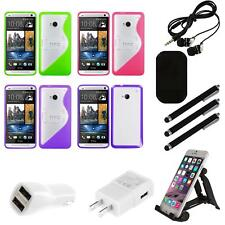For HTC One M7 TPU Hard Case Skin Phone Cover Combo