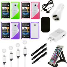 For HTC One M7 TPU Hard Case Skin Phone Cover Charger