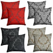 """Set of 2 Downtown Cushion Covers Velvet Flock Filigree Cover Pairs 18"""" x 18"""""""