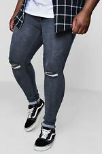 Boohoo Big And Tall Super Skinny Ripped Knee Jeans para Hombre
