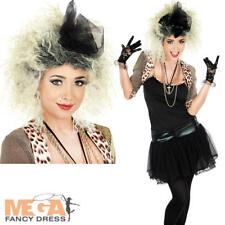 80s Pop Star + Wig Fancy Dress Ladies 1980 Madonna Celebrity Women Adult Costume