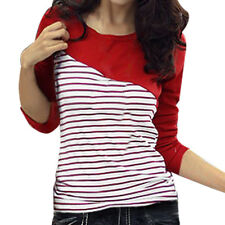 Girl Round Neck Long Sleeve Stripe Shirt Top Red Us
