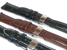 Premium Leather Watch Strap S.Steel Deployment Clasp Tag Omega Breitling Style