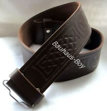 KILT BELT SCOTTISH CELTIC THISTLE EMBOSSED BROWN LEATHER sizes SMALL to XX-LARGE