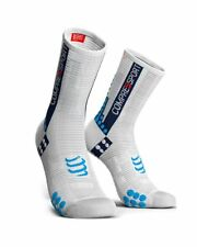 Compressport Racing Calcetines V3.0 Bike Medias de red Compresión, White/Blue