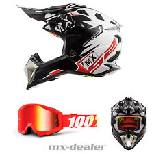 LS2 Mx 470 Subverter Imperatore Nero +100% Occhiali Mx Casco da Cross Enduro