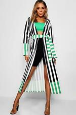 Boohoo Womens Contrast Stripe Belted Duster