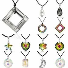 Fashion Moon Flowers Heart Crystal Pendant Necklace Leather Chain Women Jewelry