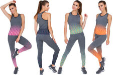 Womens Sports Set Top & Pants Ombre Color Pattern Gym Activewear Size S-XXL FS06