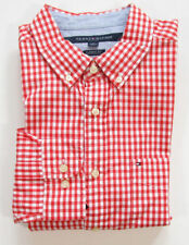 Tommy Hilfiger hombre naranja Gingham a cuadros Corte Clásico Camisa