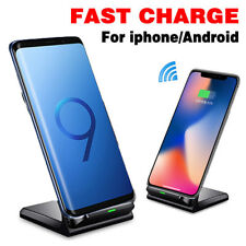 For iPhone X 8 Plus Samsung S9+ Wireless Qi Fast Charger Charging Stand Dock Pad