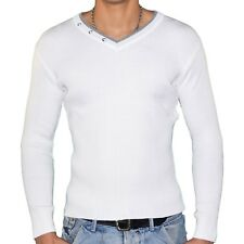 STEF WEAR  PULL COL V DOUBLE  HOMME  STEF 701  BLANC GRIS NEUF GRADE A
