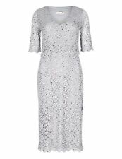 M&S PER UNA  Double Layered Scallop Floral Lace Silver Dress Size 10 / EUR 38