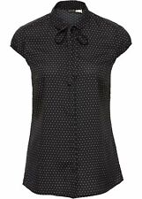 Donna Camicia manica corta con stampa all-over e foulard, 242749 IN NERO/