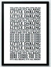 Here Comes The Sun - The Beatles Song Lyrics Typography Print  Poster Artwork
