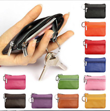 Soft Men Women Genuine Leather Card Coin Key Holder Zip Wallet Pouch Bag Purse