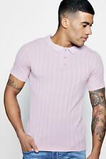 Boohoo Mens Muscle Fit Rib Knitted Short Sleeve Polo